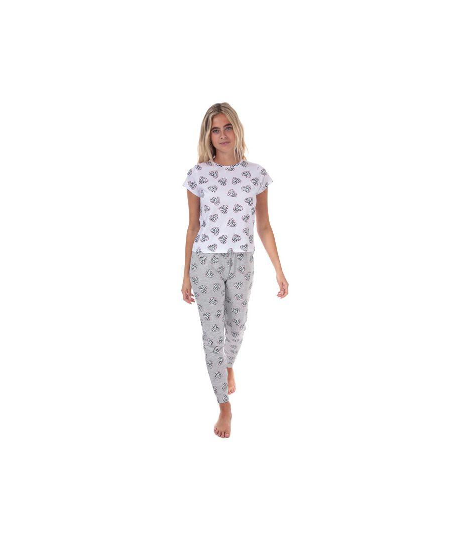 Image for Women's Brave Soul Heart Pyjama Set Grey Marl 10in Grey Marl