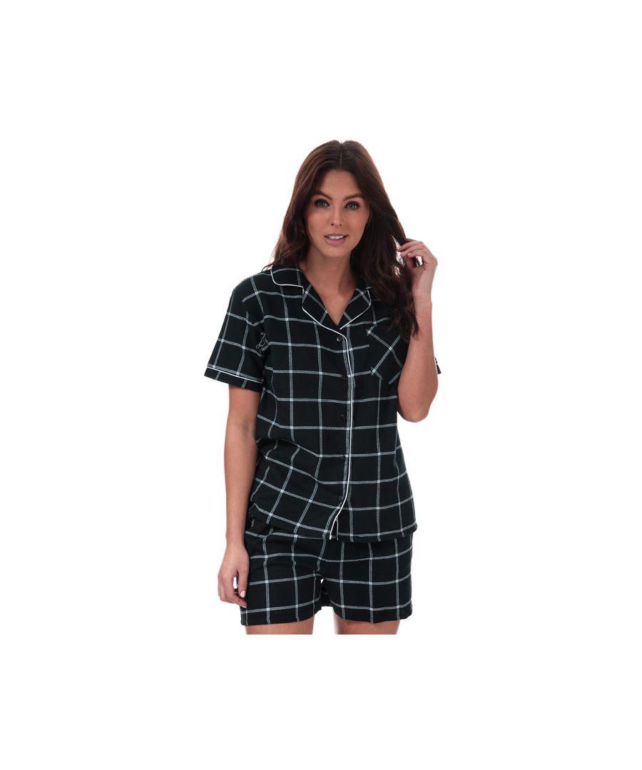 Image for Women's Brave Soul Check Pyjama Set in Black-White