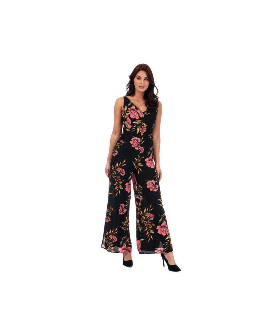 Image for Women's Brave Soul Floral Print Jumpsuit in Black
