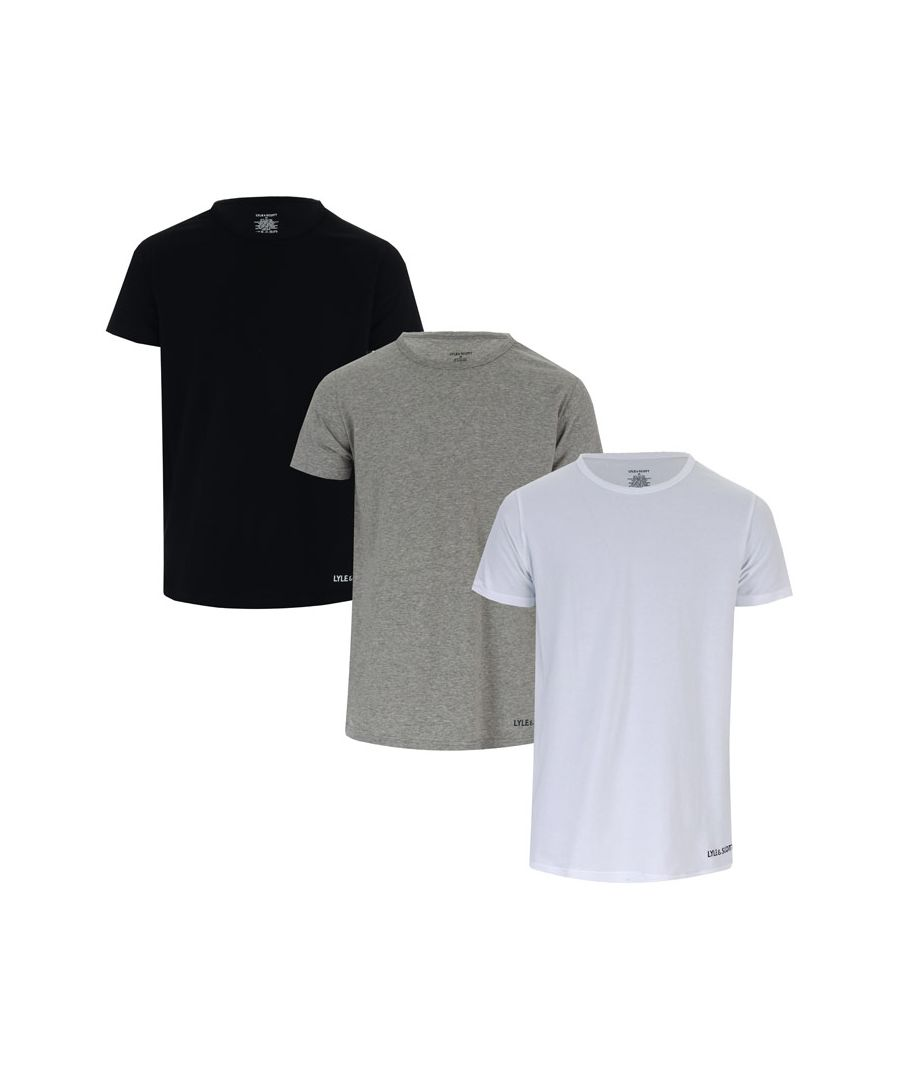 Image for Men's Lyle And Scott Elijah 3 Pack T-Shirts in Black Grey White