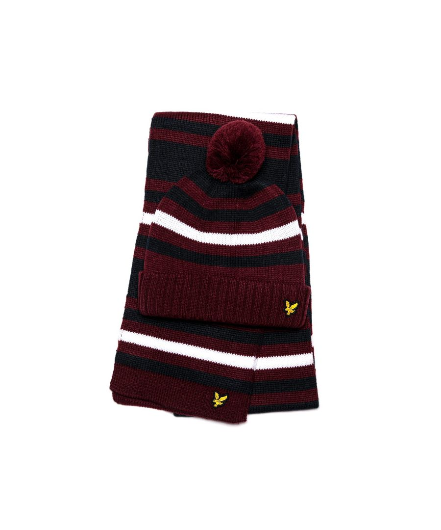 Image for Accessories Lyle And Scott Stripe Beanie & Scarf Set in Red
