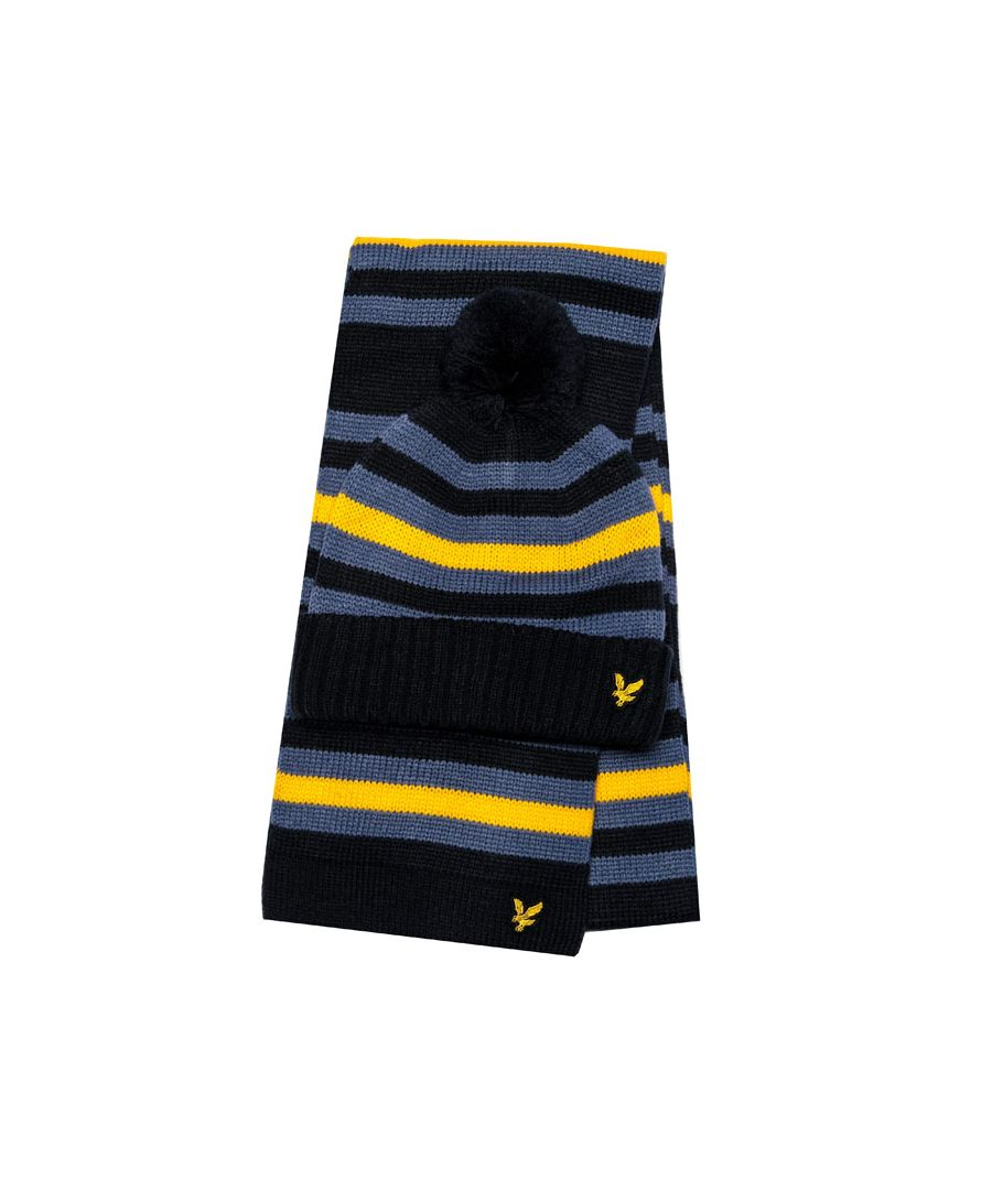 Image for Accessories Lyle And Scott Stripe Beanie & Scarf Set in Indigo