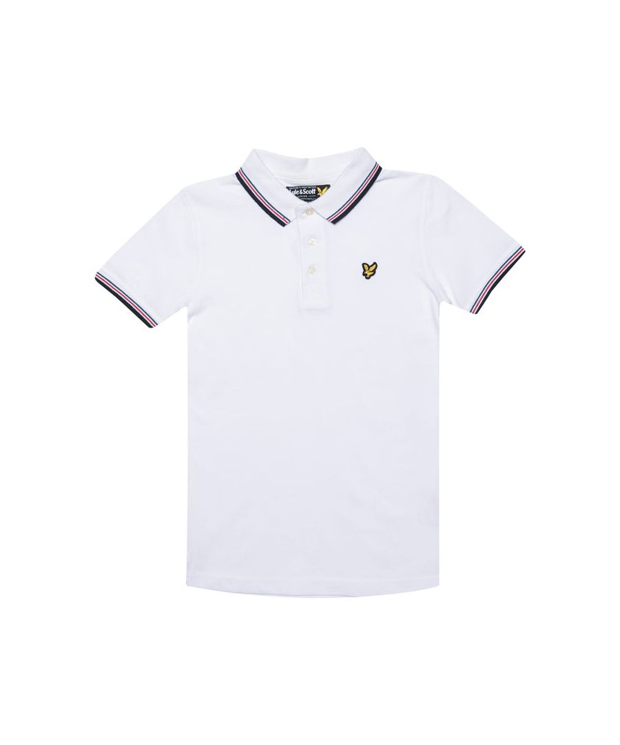 Image for Boy's Lyle And Scott Junior Plain Tipped Polo Shirt in White