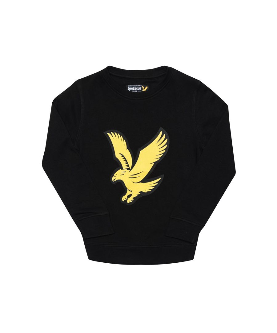 Image for Boy's Lyle And Scott Junior Logo Crew Fleece Sweater in Black