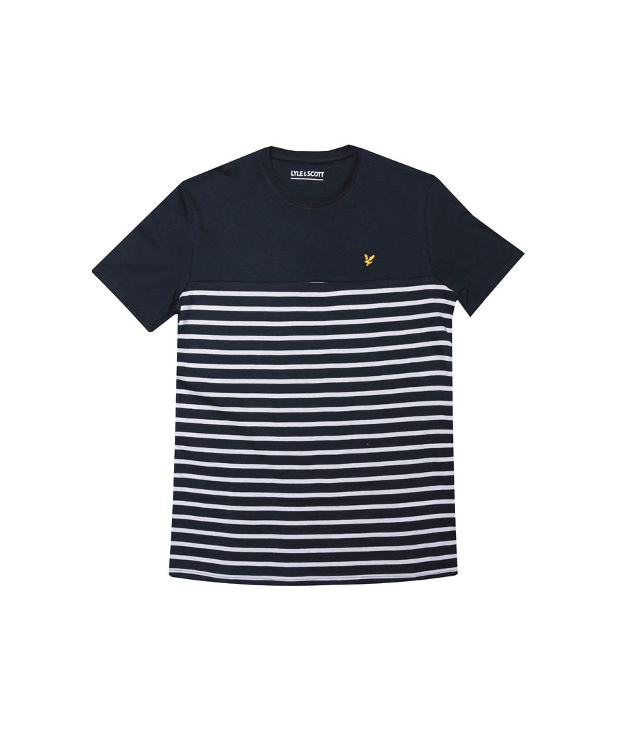 Image for Boy's Lyle And Scott Junior Breton Block Stripe T-Shirt in Navy