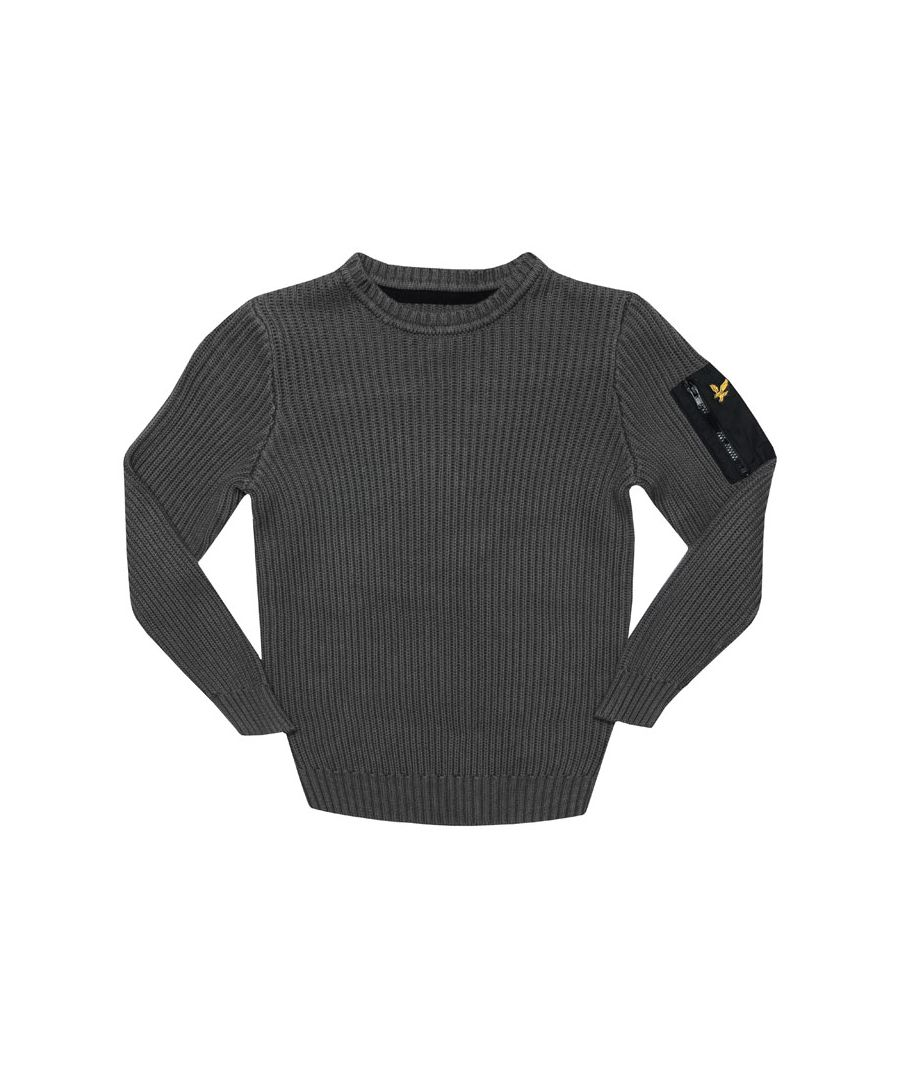 Image for Boy's Lyle And Scott Junior Ribbed Knitted Jumper in Grey