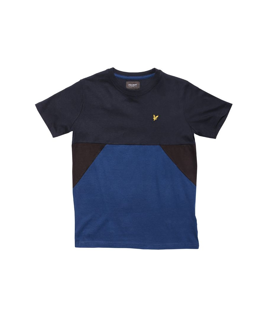 Image for Boy's Lyle And Scott Junior Multi Geo Panel T-Shirt in Navy