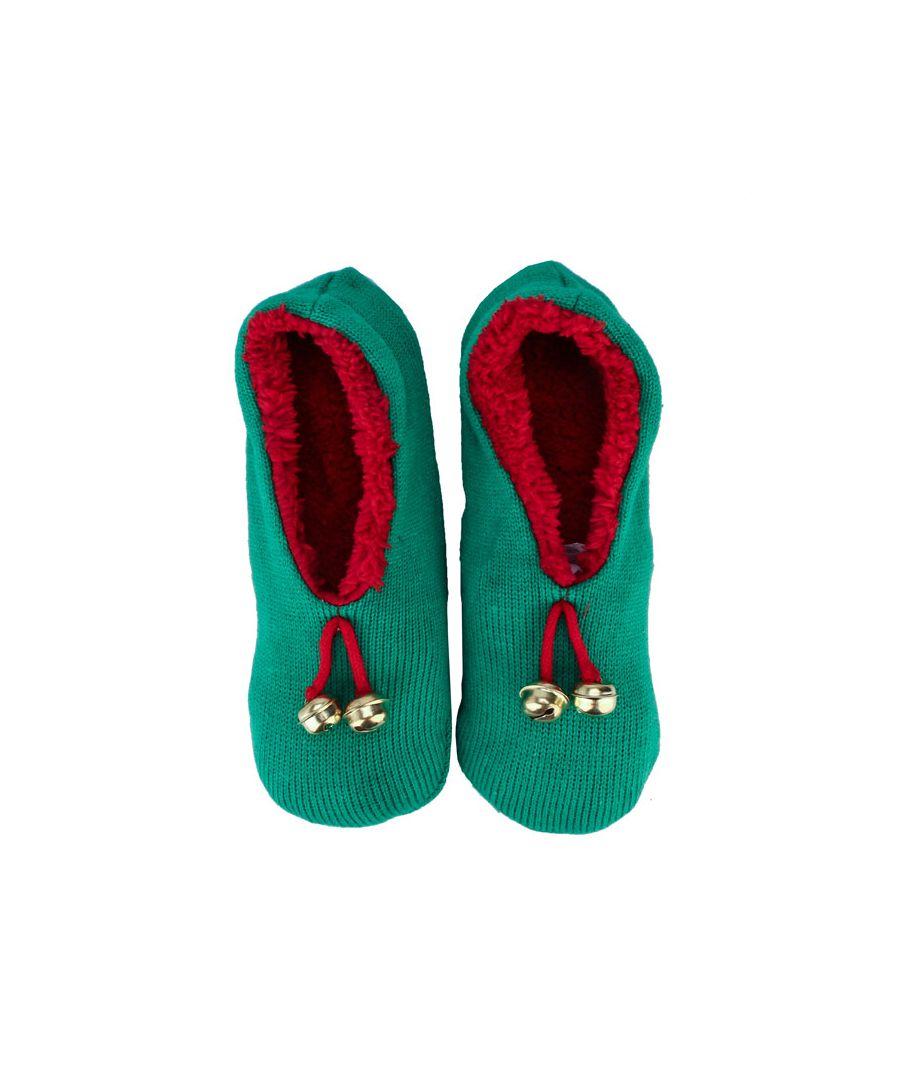 Image for Women's Brave Soul Christmas Elf Slipper Socks in Green