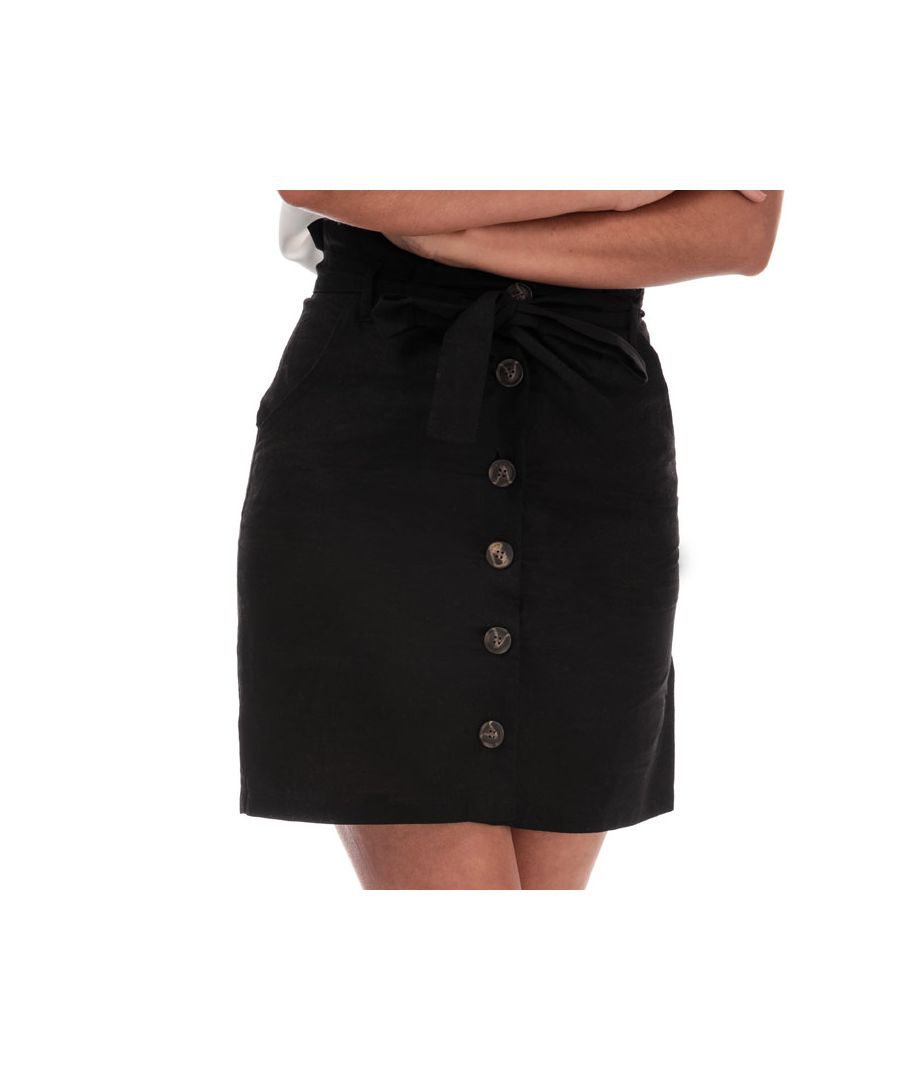 Image for Women's Brave Soul Paper Bag Button Through Skirt in Black