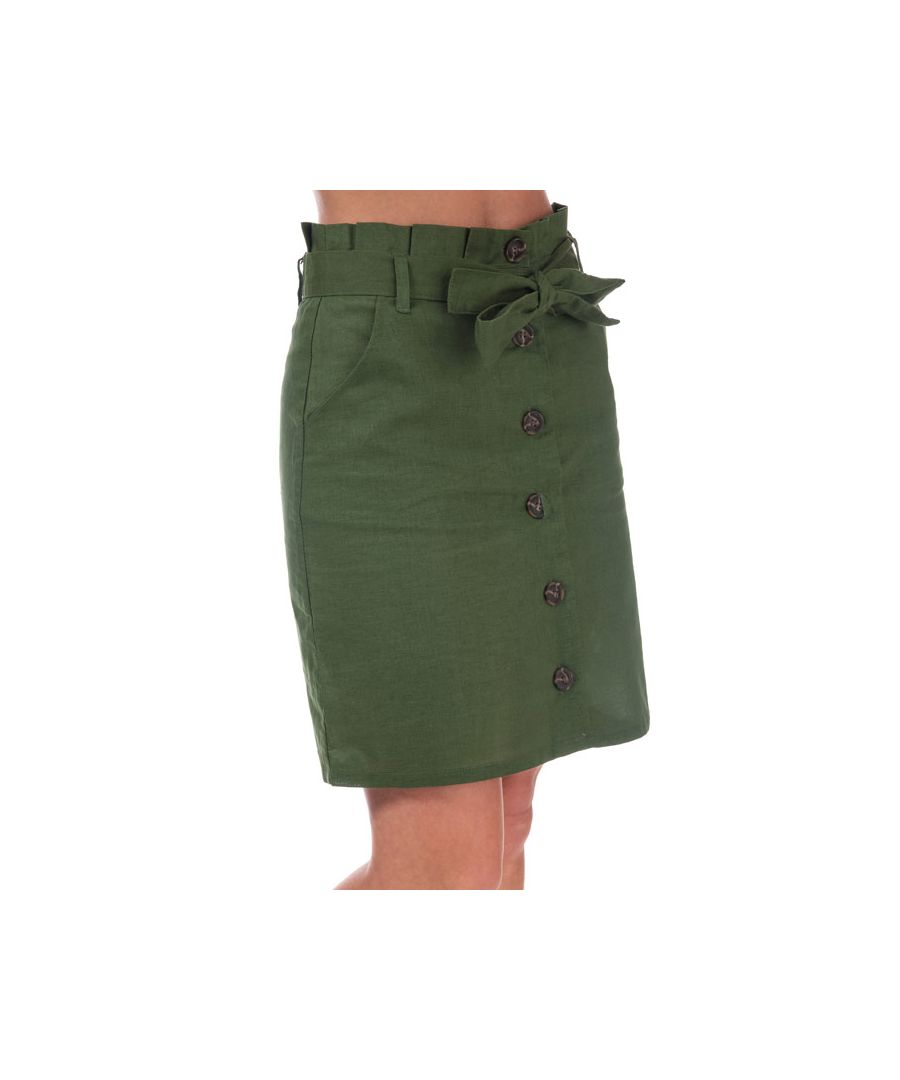 Image for Women's Brave Soul Paper Bag Button Through Skirt in Khaki