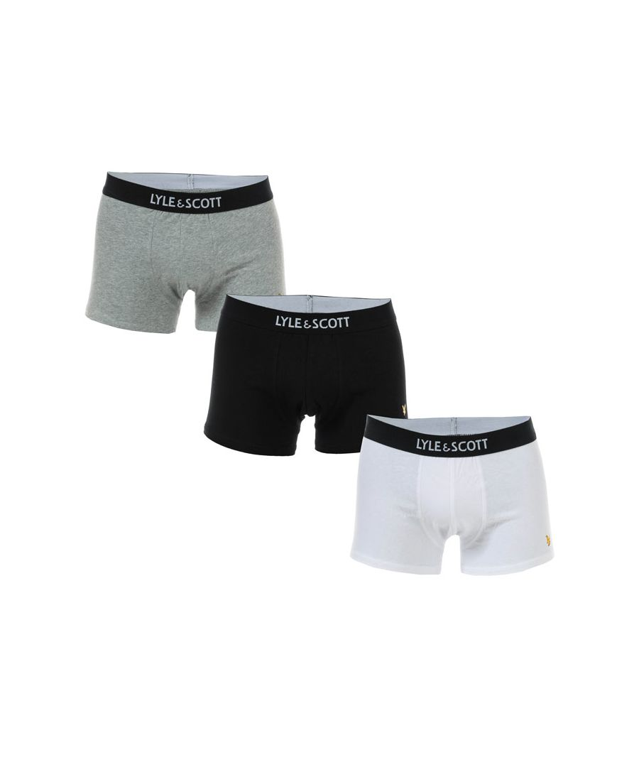 Image for Men's Lyle And Scott Nathan 3 Pack Boxer Shorts in Black Grey White
