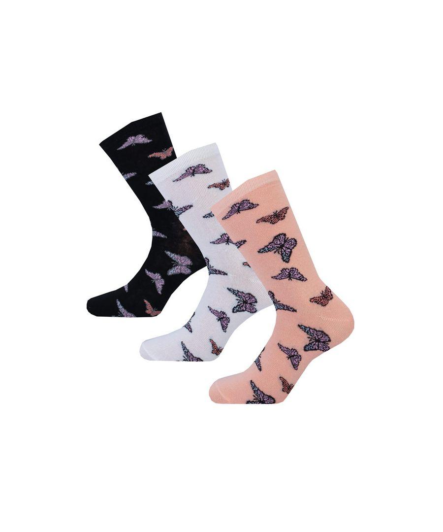 Image for Women's Brave Soul 3 Pk Butterfly Socks Multi colour One Sizein Multi colour