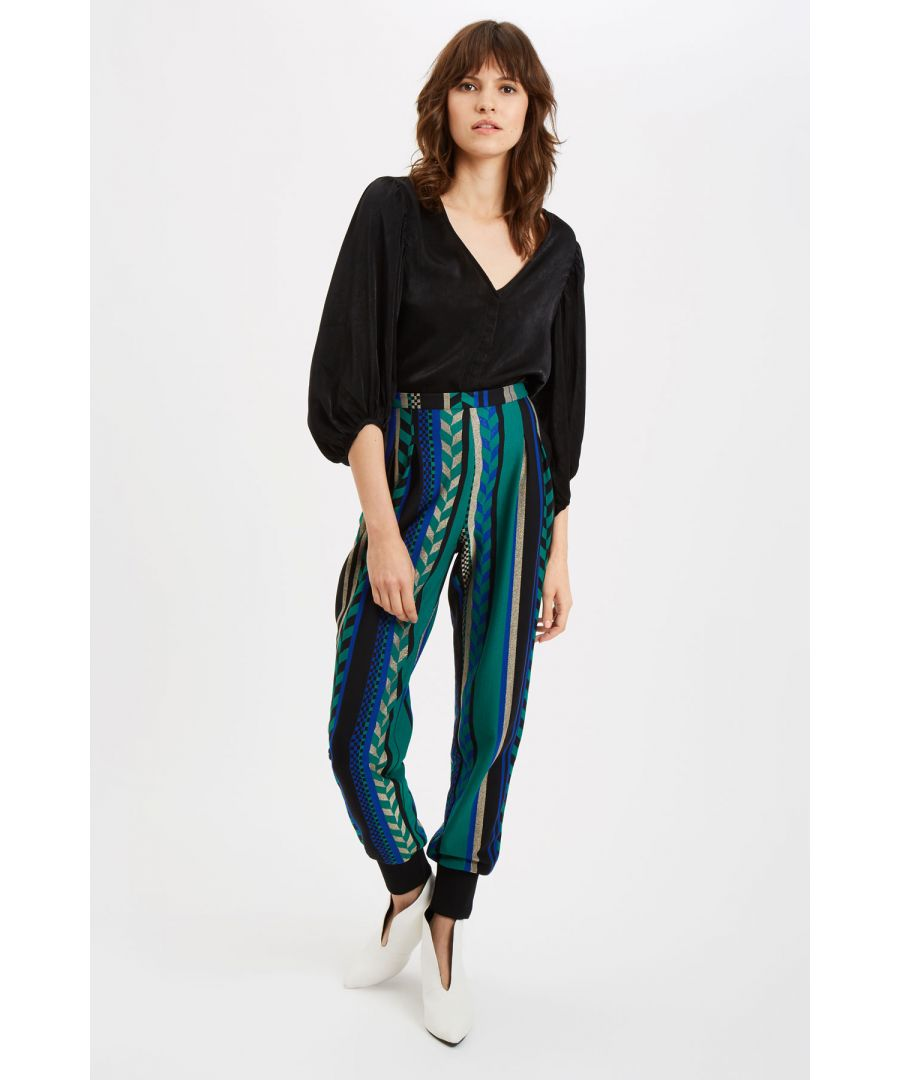 Image for Grace Geometric Trousers in Green