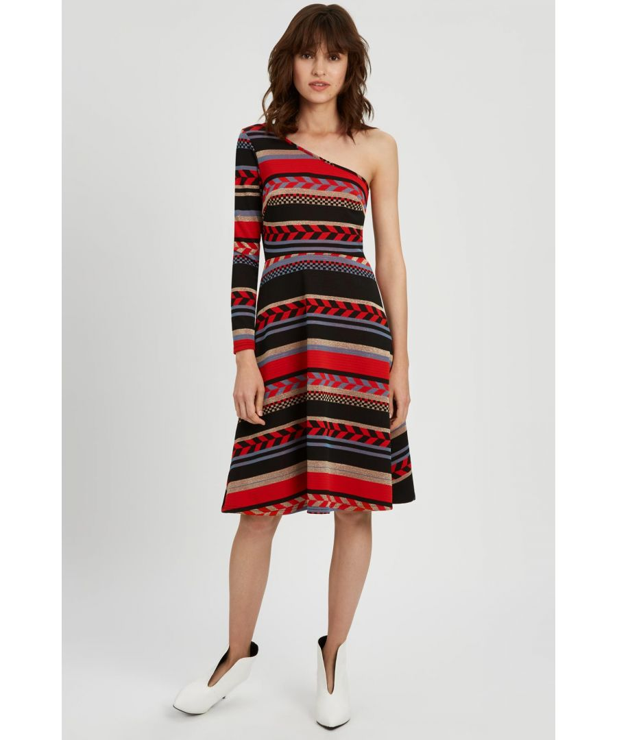 Image for Debbie One Shoulder Midi Party Dress in Red