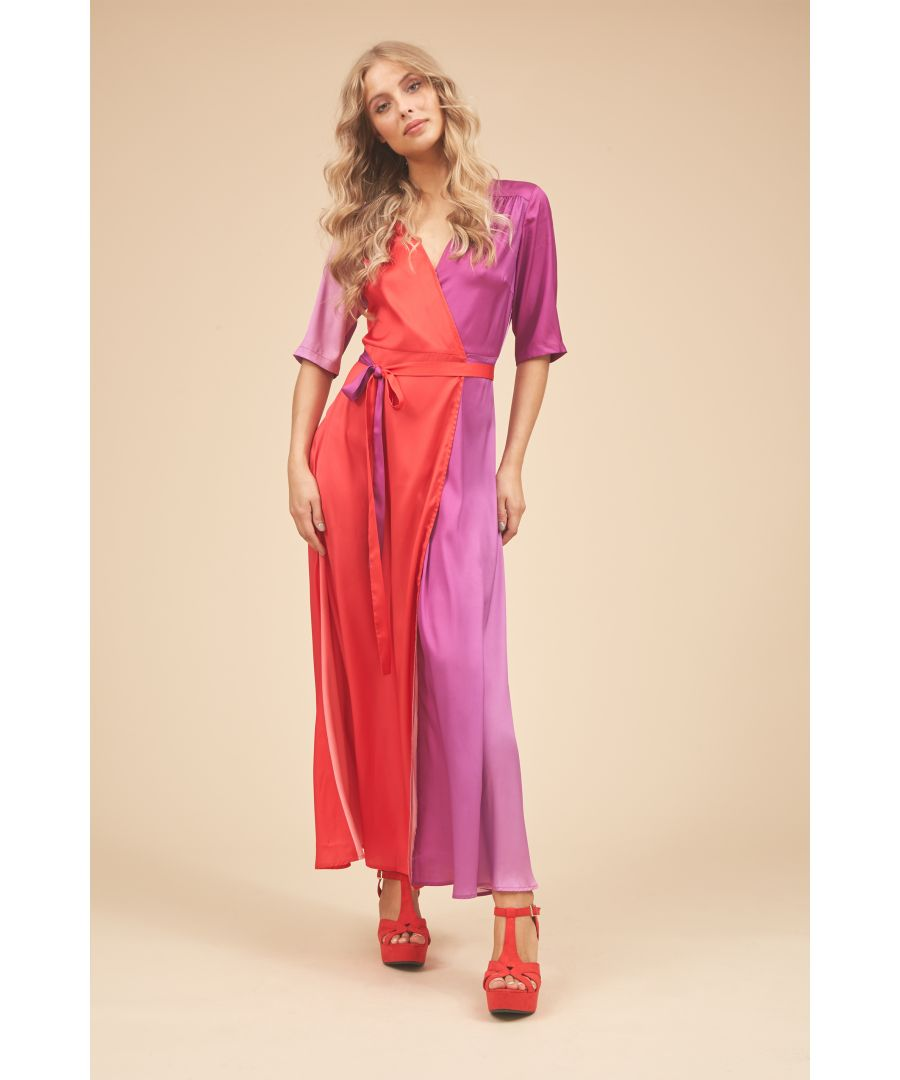 Image for Wrap 3/4 Sleeve Maxi Dress in Red and Purple
