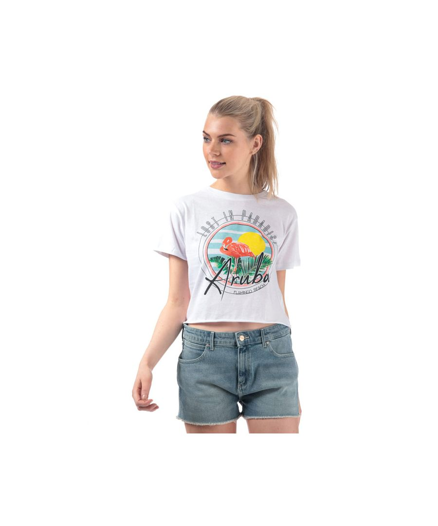 Image for Women's Brave Soul Flamingo T-Shirt in White