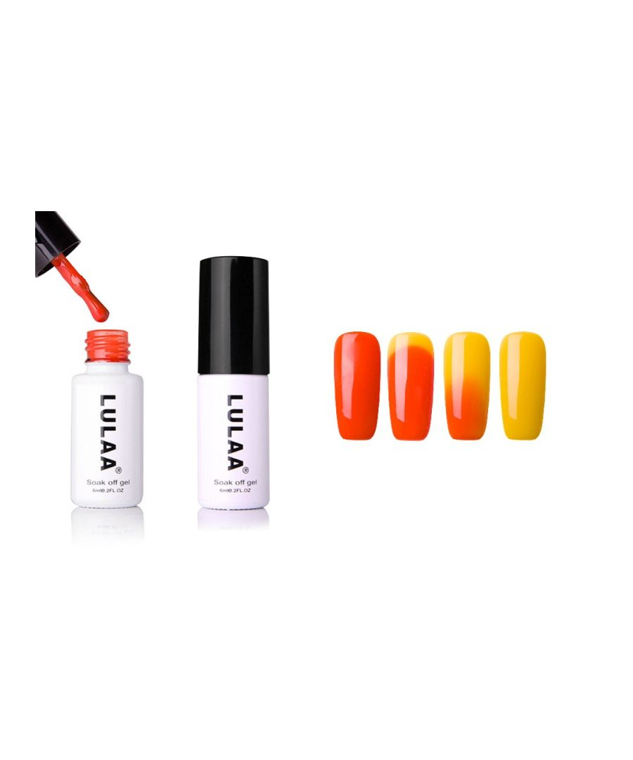Image for Lulaa Temperature Colour Changing Nail Varnish UV Soak Off Nail Gel Polish 6ml, Orange/Yellow