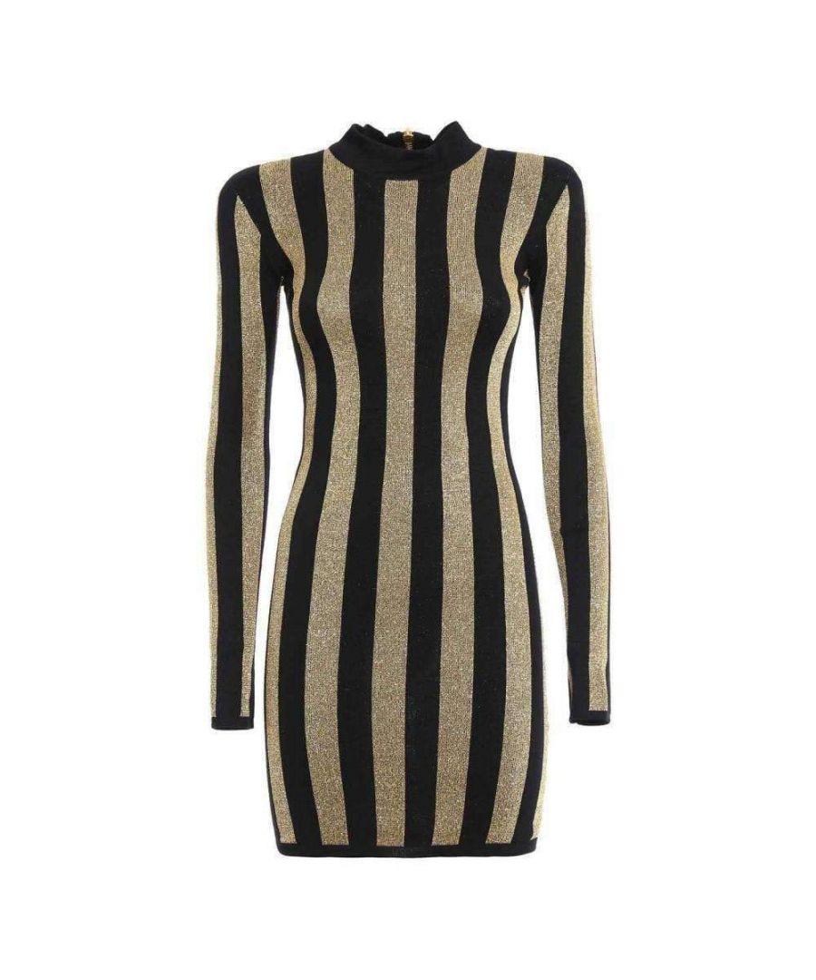 Image for Balmain Lurex Gold Black Striped Pattern Mini Dress