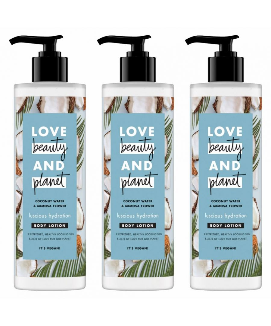 Image for Love Beauty & Planet Luscious Hydration Coconut Water & Mimosa Flower Body Lotion 400ml (Pack of 3)