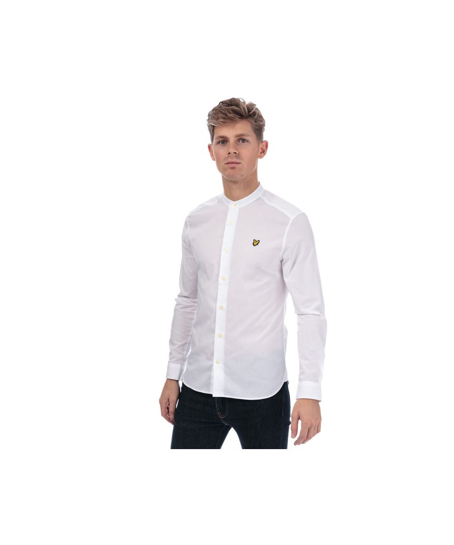 Image for Men's Lyle And Scott Slim Stretch Grandad Shirt in White