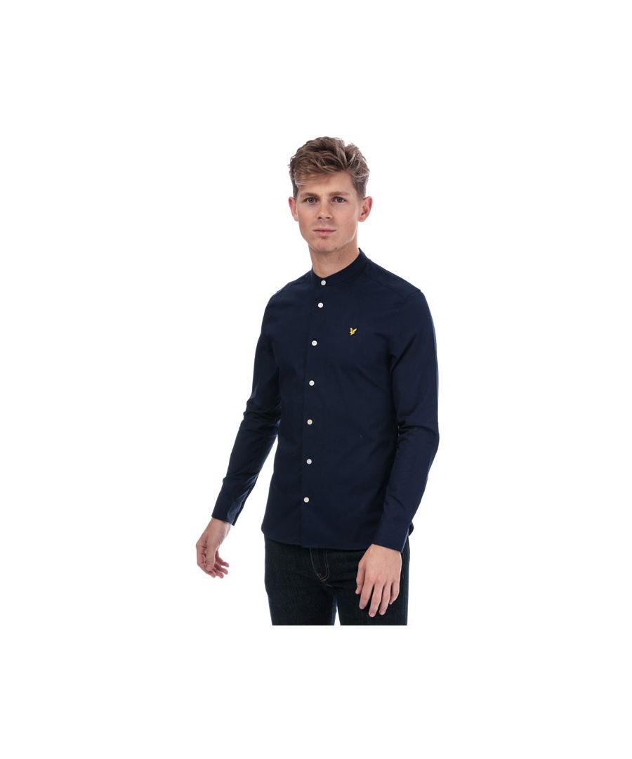 Image for Men's Lyle And Scott Slim Stretch Grandad Shirt in Navy
