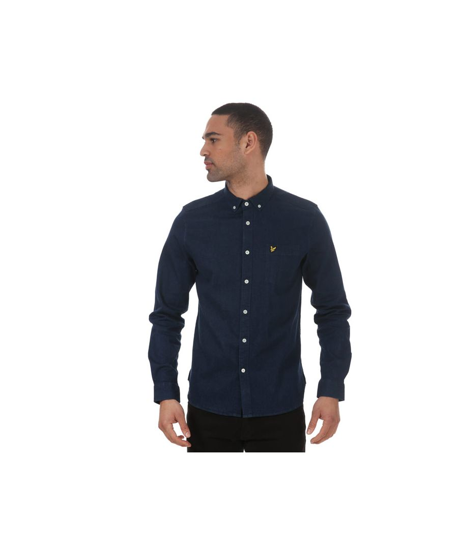Image for Men's Lyle And Scott Indgo Long Sleeve Polo Shirt in Blue
