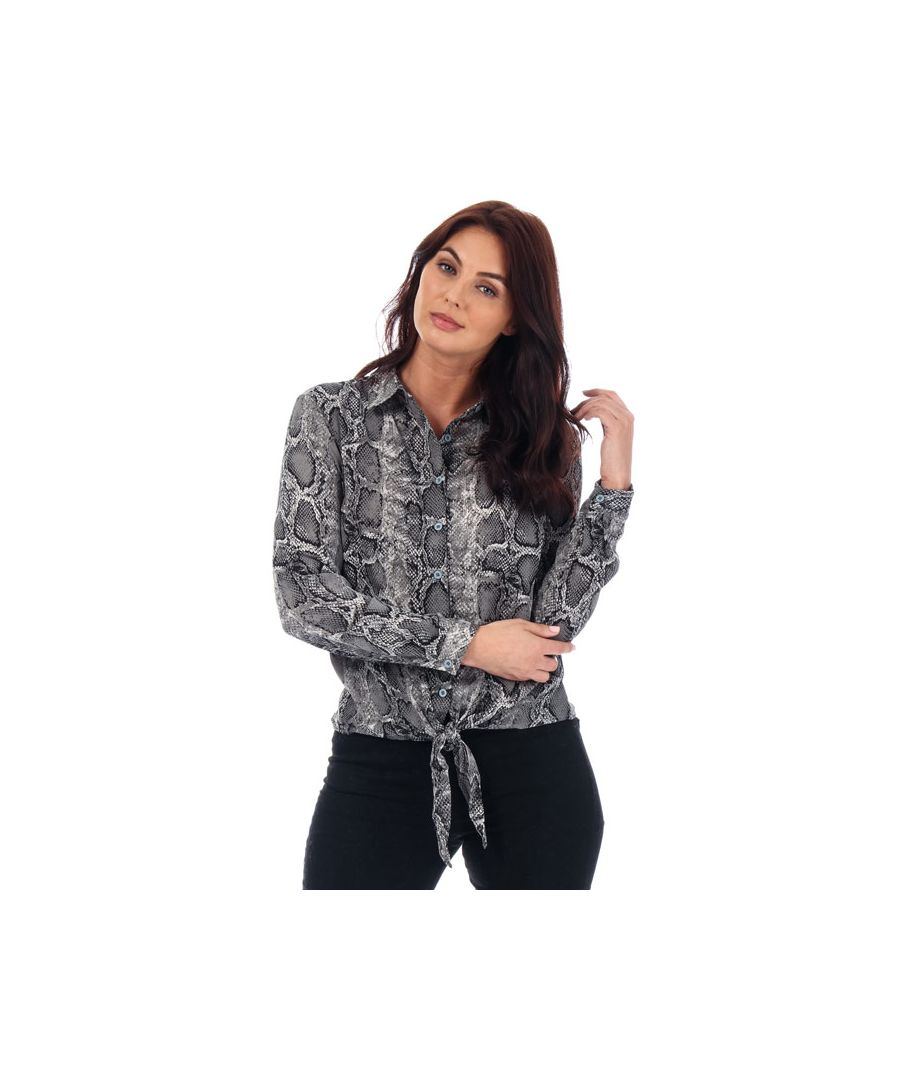 Image for Women's Brave Soul Snake Print Tie Front Blouse in Black-White