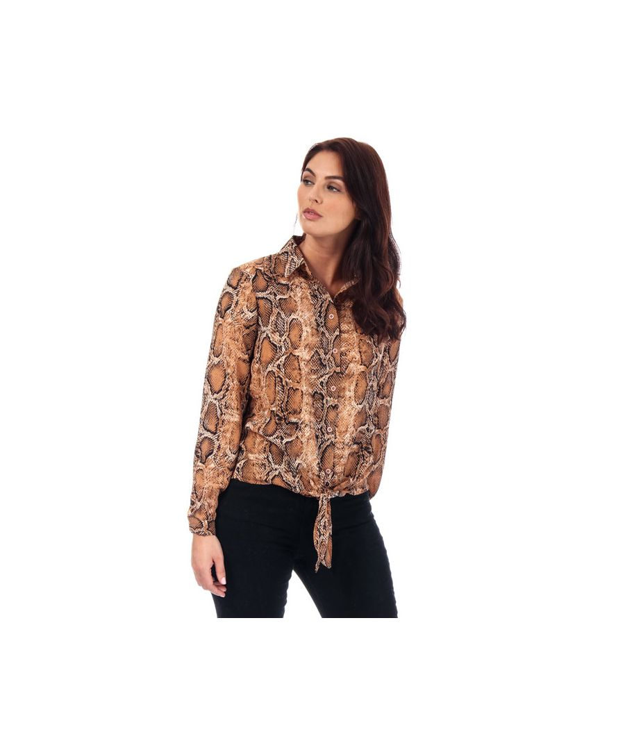Image for Women's Brave Soul Snake Print Tie Front Blouse in Brown