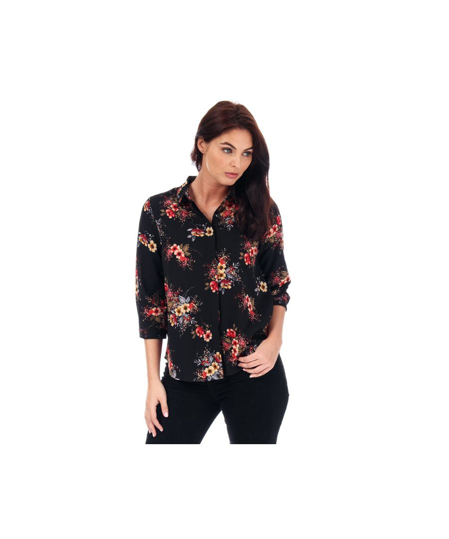 Image for Women's Brave Soul Floral Print Blouse in Black