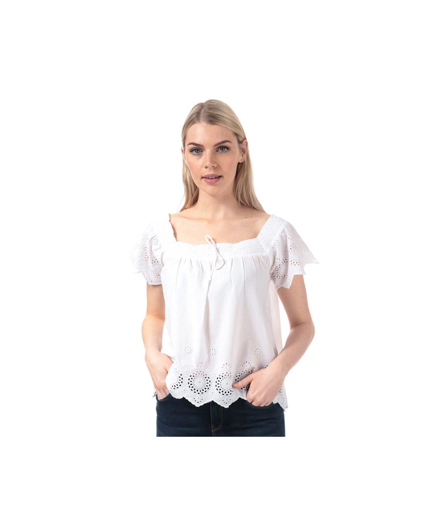 Image for Women's Brave Soul Broderie Anglaise Square Neck Top in Off White