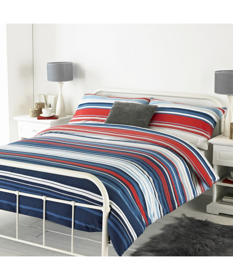 Image for Lymington SKing Duvet Set Blu/Red