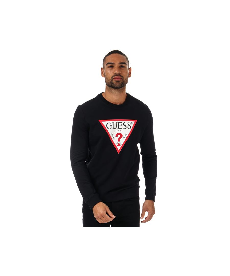 Image for Men's Guess Audley Clear Stretch Crew Sweat in Black