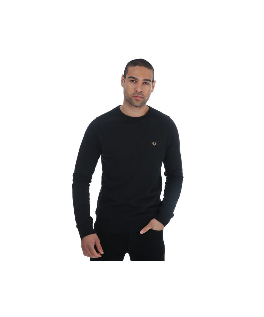 Image for Men's True Religion Metal Horseshoe Sweatshirt in Black Gold