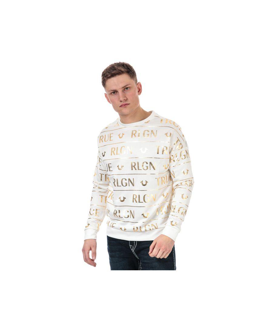 Image for Men's True Religion All Over Print Sweatshirt in White