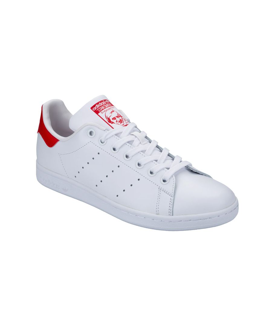 Image for Men's adidas Originals Stan Smith Trainers in White red