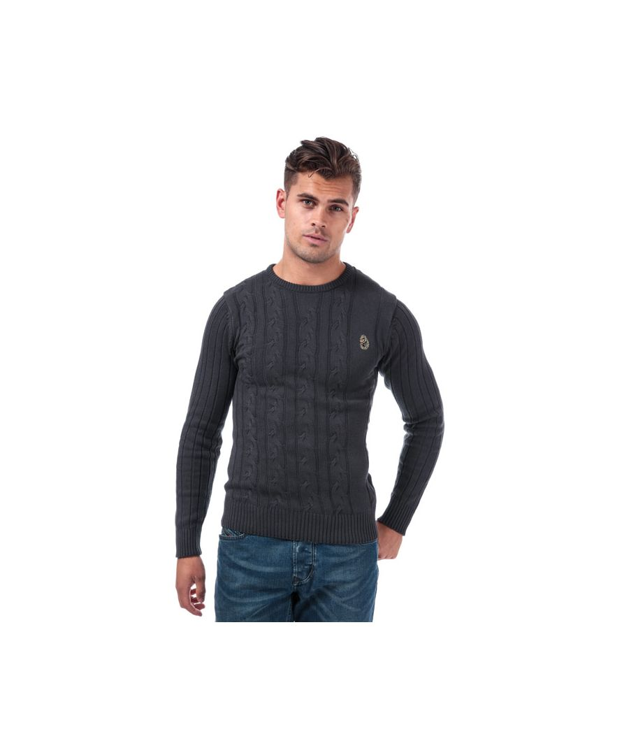 Image for Men's Luke 1977 Modern Cable Knit Jumper in Charcoal