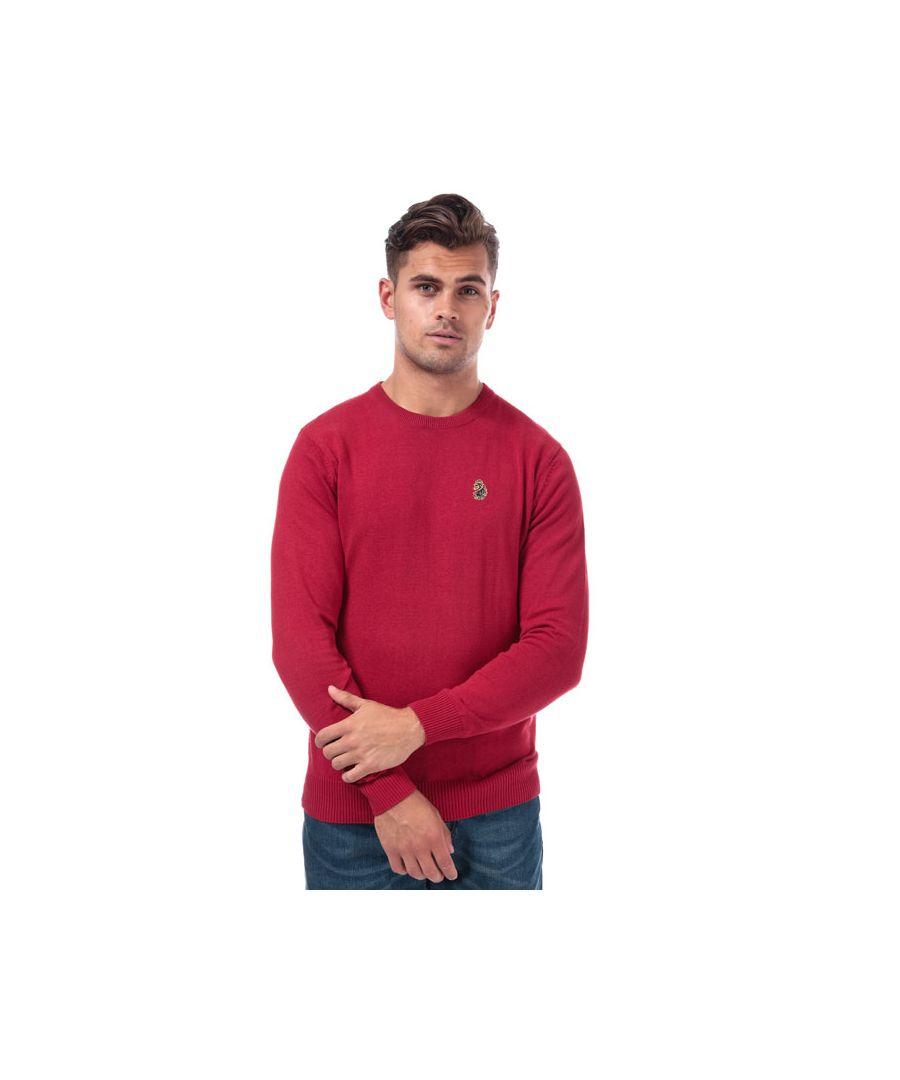 Image for Men's Luke 1977 Gerard 3 Crew Knitted Jumper in Red