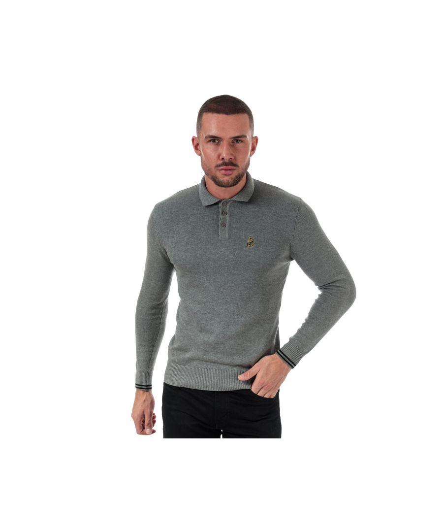 Image for Men's Luke 1977 Milk Knitted Polo Shirt in Grey