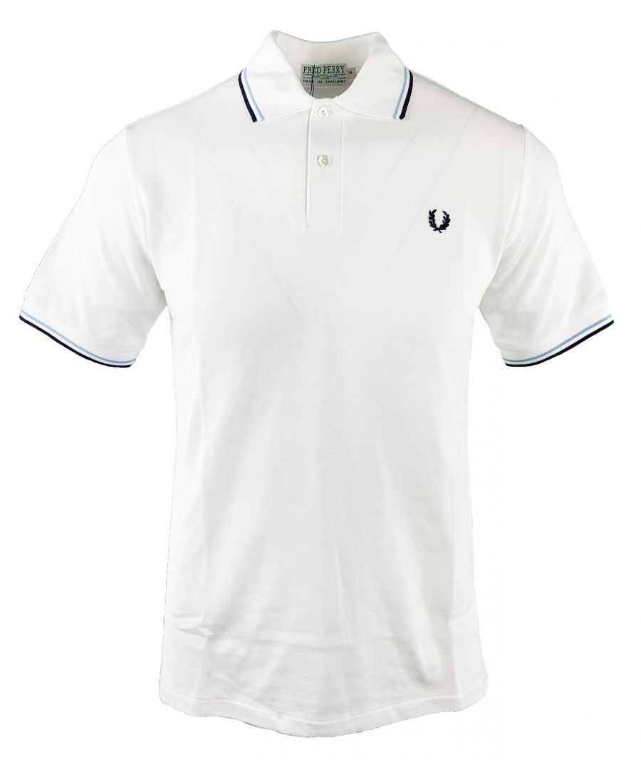 Image for Fred perry M53 129 Pique White Polo Shirt