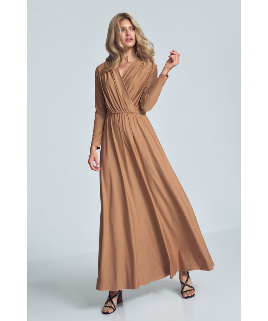 Image for Beige Maxi Dress with Long Sleeves