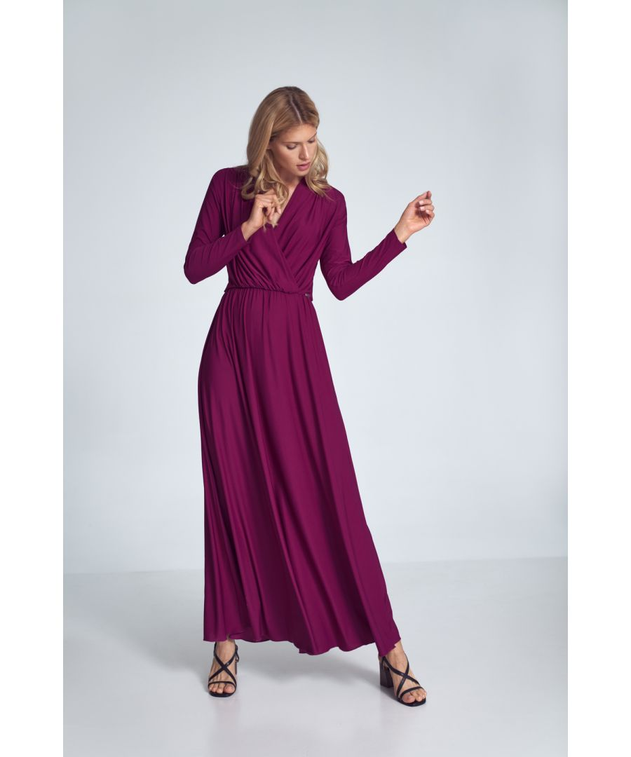 Image for Fuchsia Maxi Dress With Long Sleeves