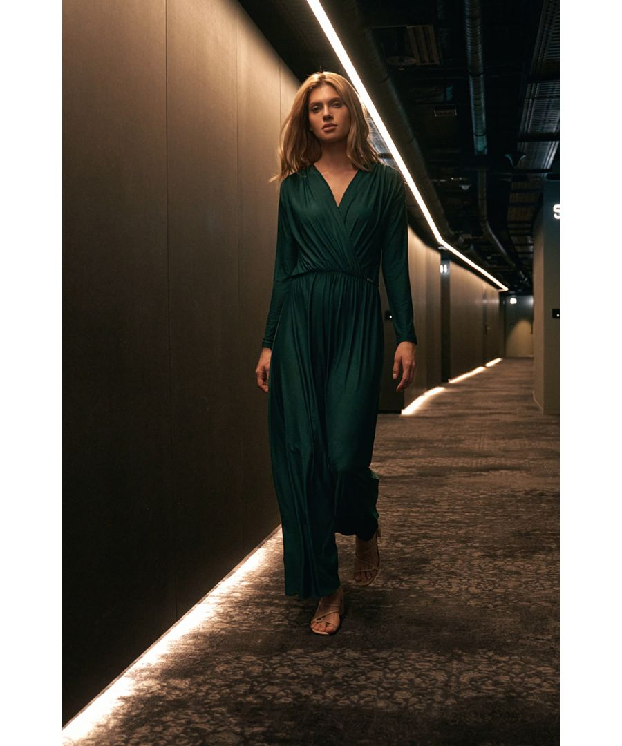 Image for Green Maxi Dress With Long Sleeves