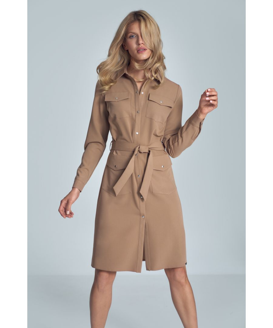 Image for Brown Midi Shirt Dress Dith Long Sleeve