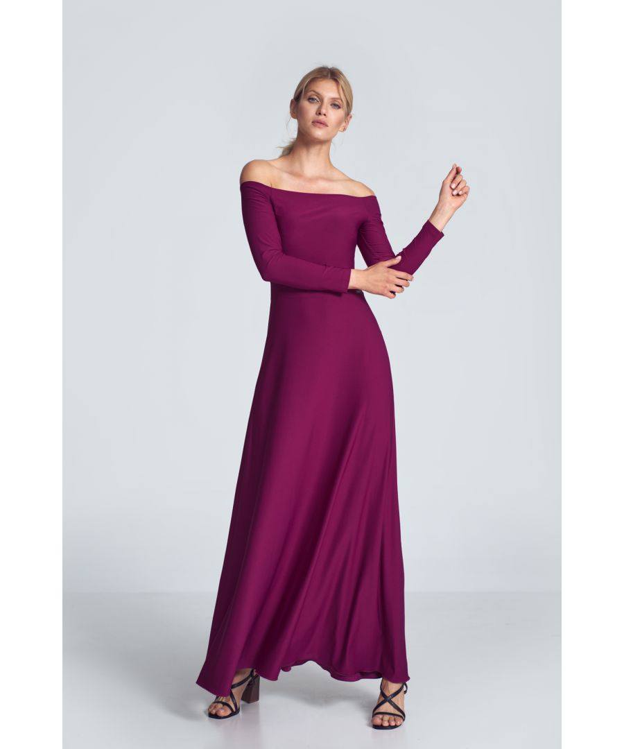 Image for Fuchsia Sensual Maxi Dress with Cold Shoulders