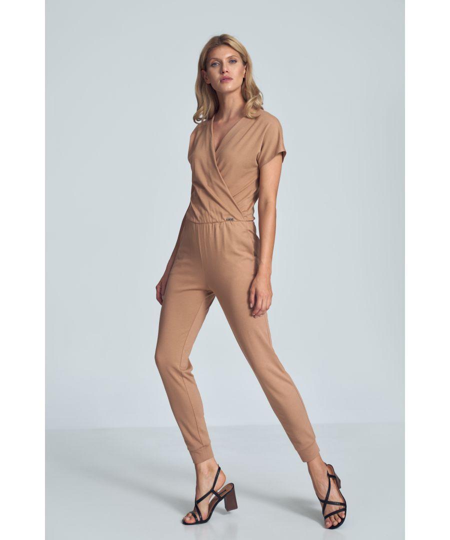 Image for Beige Jumpsuit With Wrap Neckline