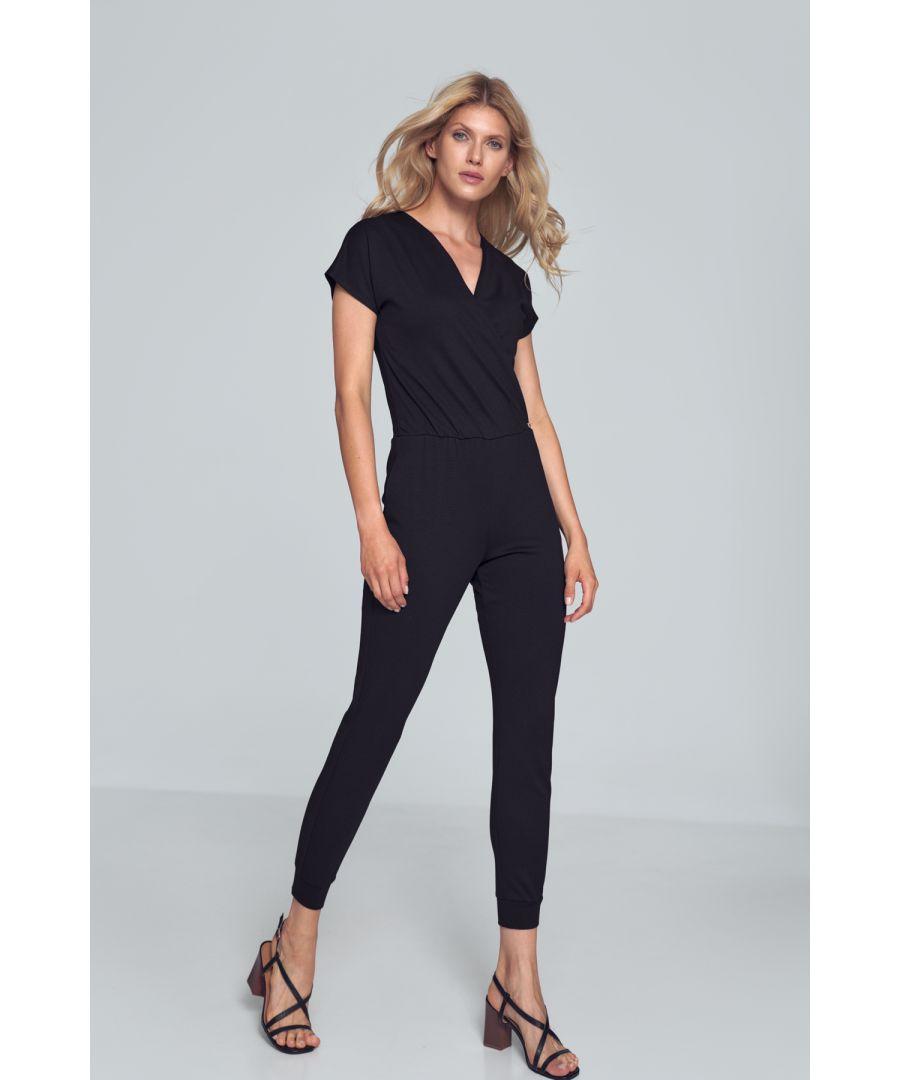 Image for Black Jumpsuit With Wrap Neckline
