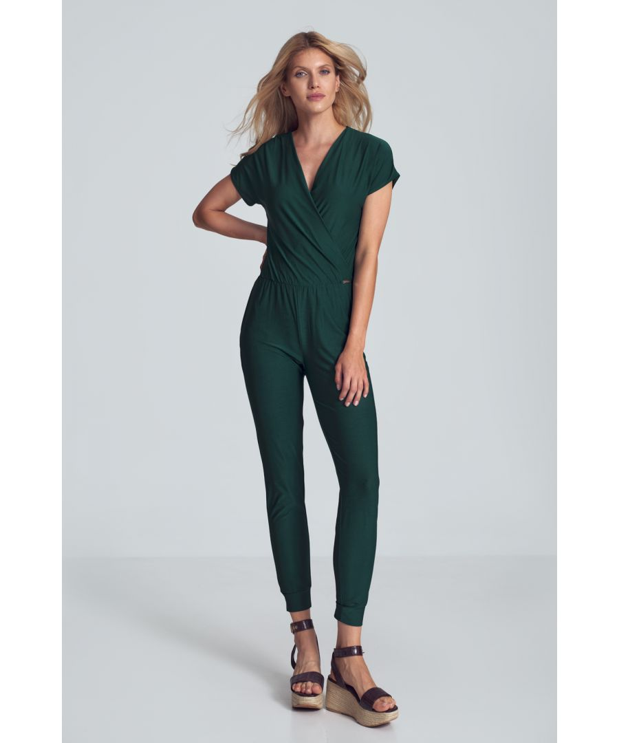 Image for Green Jumpsuit With Wrap Neckline