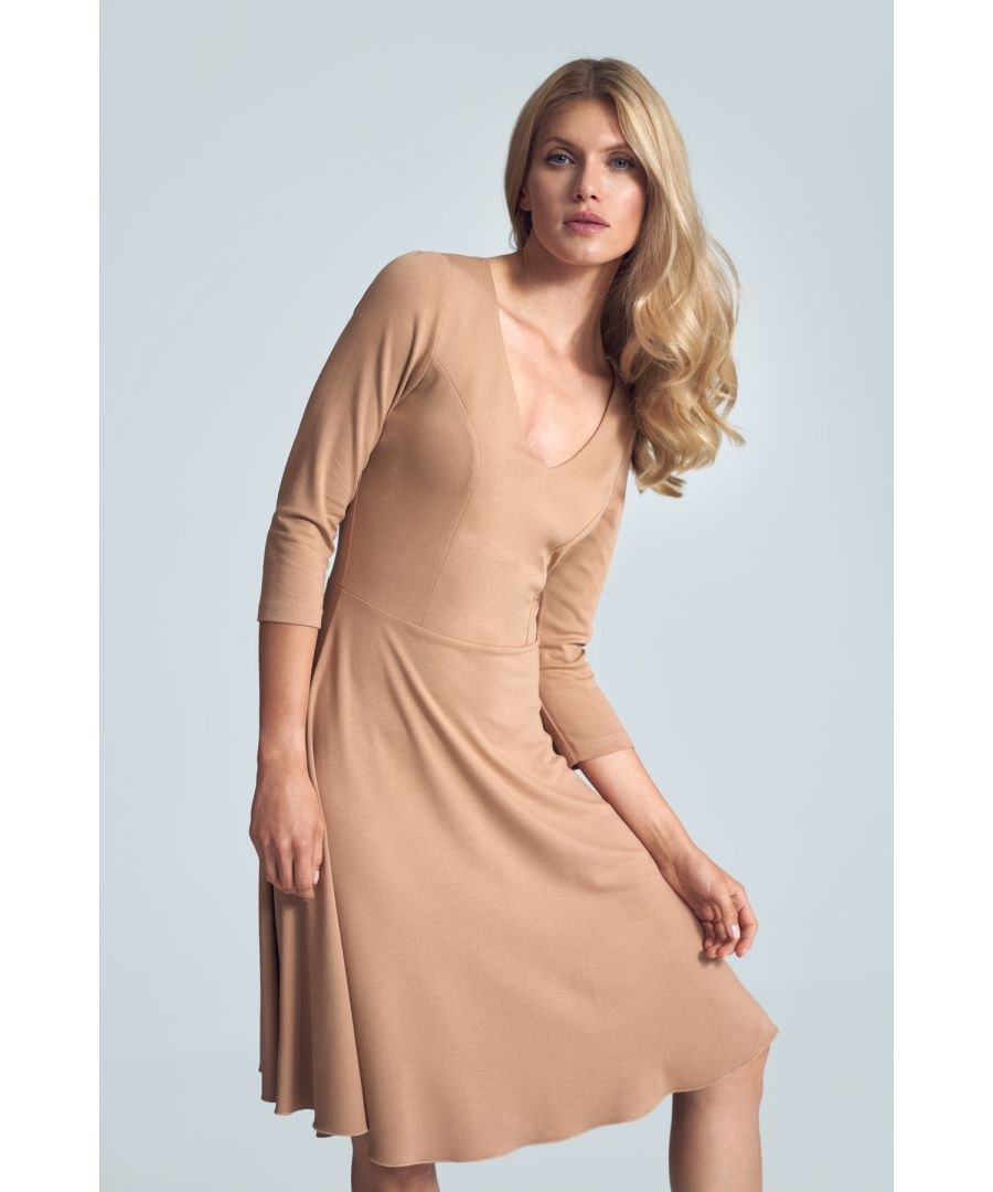 Image for Beige Cocktail Midi Dress With a V-neck