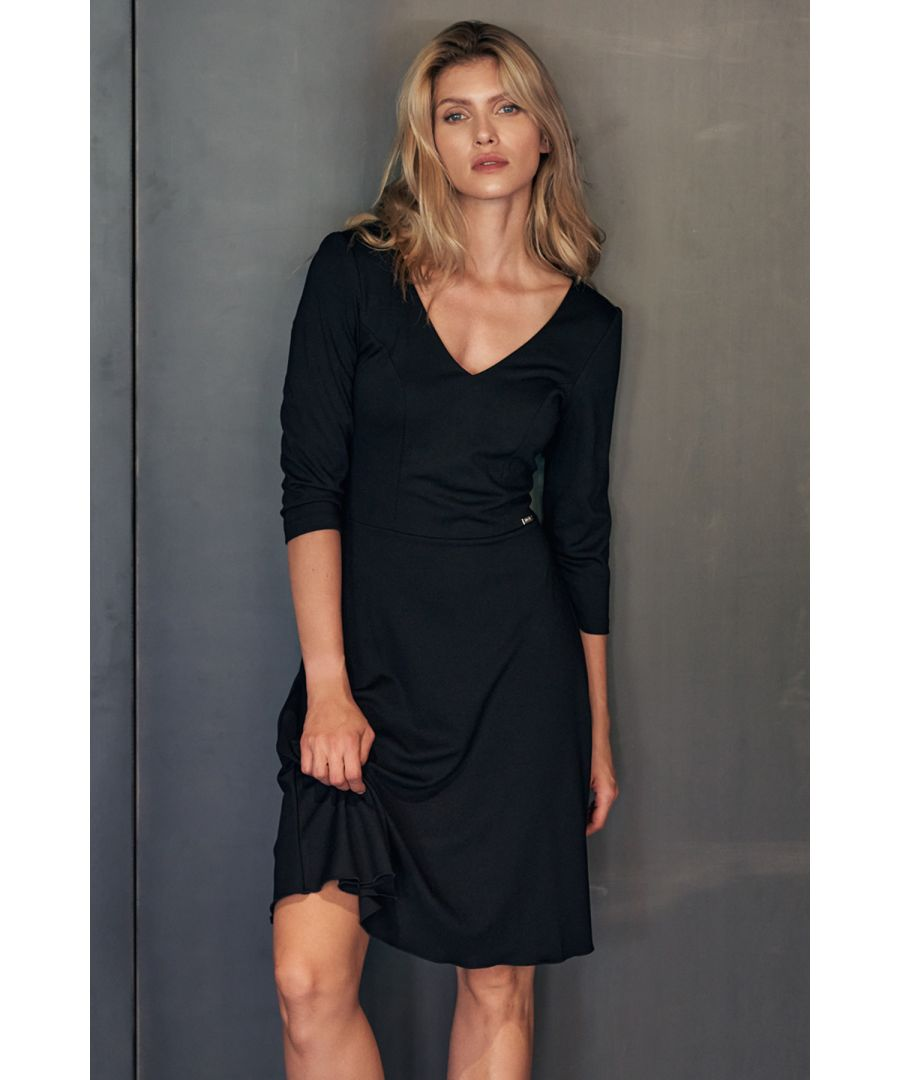 Image for Black Cocktail Midi Dress With a V-neck