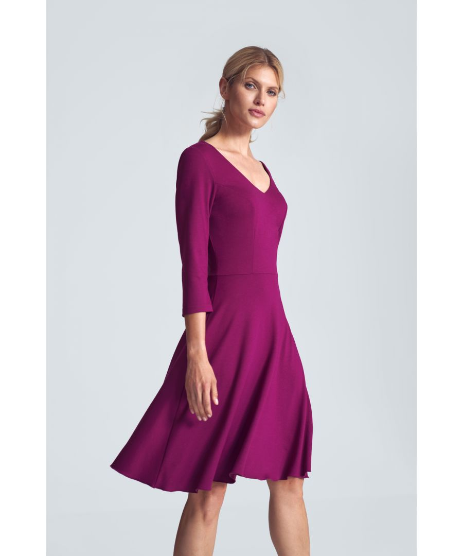Image for Fuchsia Cocktail Midi Dress With a V-neck